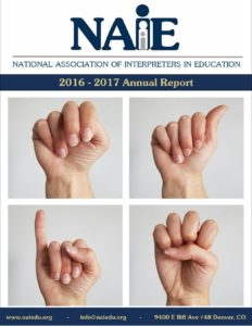 2016-2017 Annual Report Front Cover with n-a-i-e handshapes in ASL
