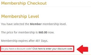Discount Code location on checkout screen circled in red